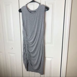 Athleta Drawstring Gray Striped Dress Size Small